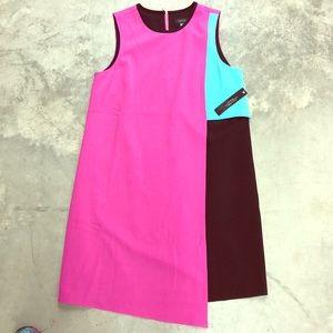 NWT Tahari Asymmetrical Color Block Dress